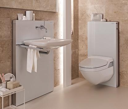 Geberit Monolith toilet en wastafel reservoir wit badkamer