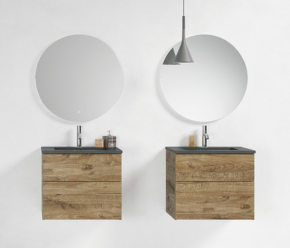 Primabad - Coast badkamermeubels - wastafelmeubel Cerablad hout - ronde spiegelpanelen