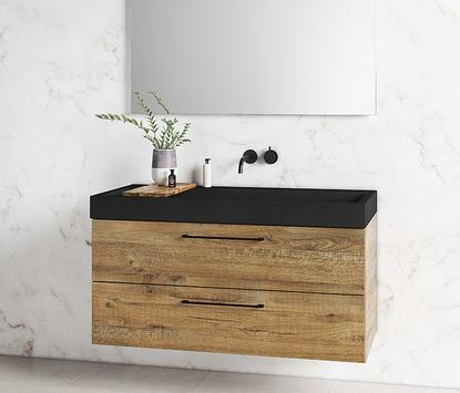 Primabad - Exclusive XL - wastafelmeubel hout - spiegelpaneel met led-verlichting