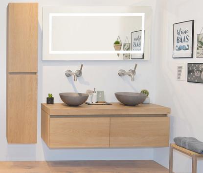 Natuurlijke badkamer met houten meubel en betonnen opbouwkommen