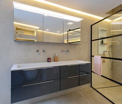 TC Couwenberg showroom badkameropstelling wastafelmeubel spiegelkasten inloopdouche