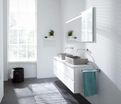 Mix & Match badkamermeubel Larino wit dubbele opzetkommen breed led spiegelpaneel
