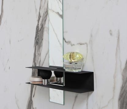 Ink - Linea - Spiegel met planchet - mat zwart