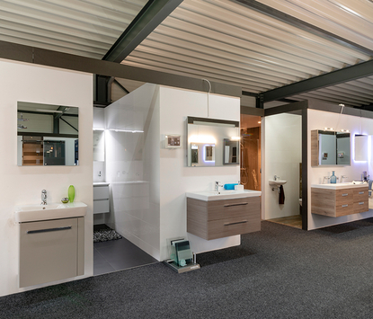Verwarming & Sanitair Shop showroom badkameropstellingen
