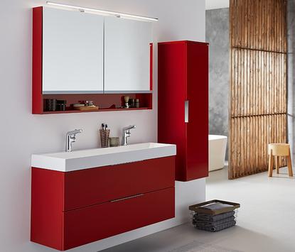 Rode badkamermeubel spiegelkast en badkamerkast