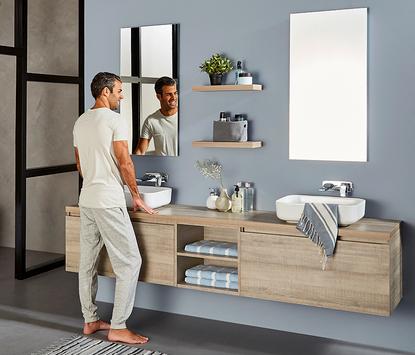 Primabad Original - wit wastafelmeubel met opzetkommen - led-spiegelpaneel