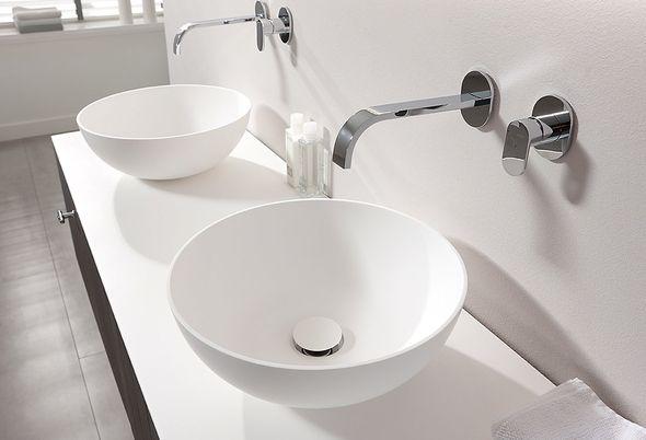 Badkamermeubel met witte ronde opzetkom