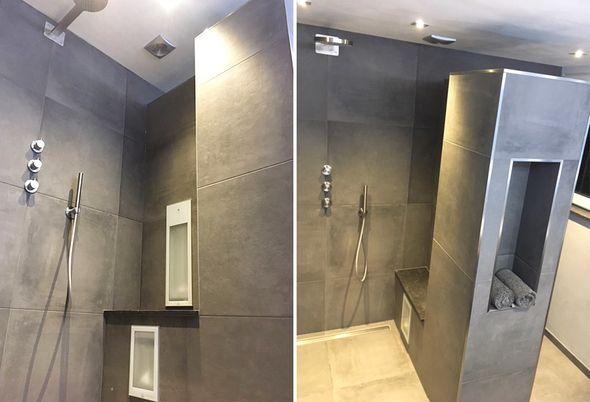 Stoere badkamer in Oldemarkt - regendouche met sunshower en houten badkamermeubel