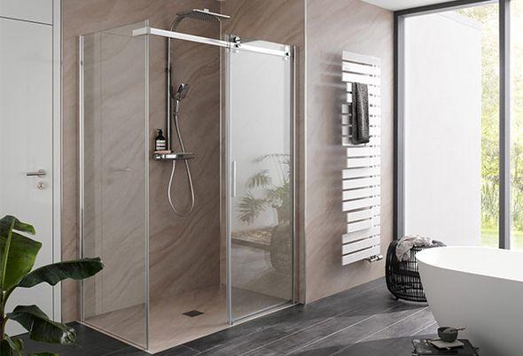 Douchecabine voor een kleine badkamer - Douchecabine met schuifdeur en hoekinstap vouwdeur