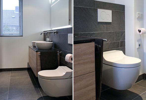 Moderne wellness badkamer in Vught - Badkamermeubel en toilet