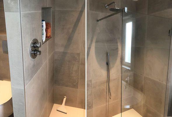 Moderne badkamer en toilet in Zutphen - Drempelloze douche en eenheid toilet