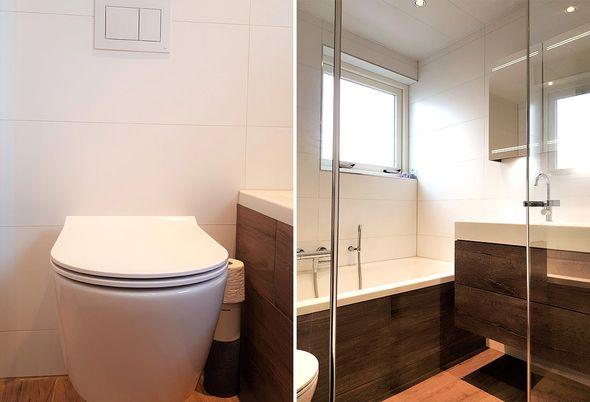 Tijdloze badkamer met bad en douche in Uithoorn - Ruimtebesparende douchecabine