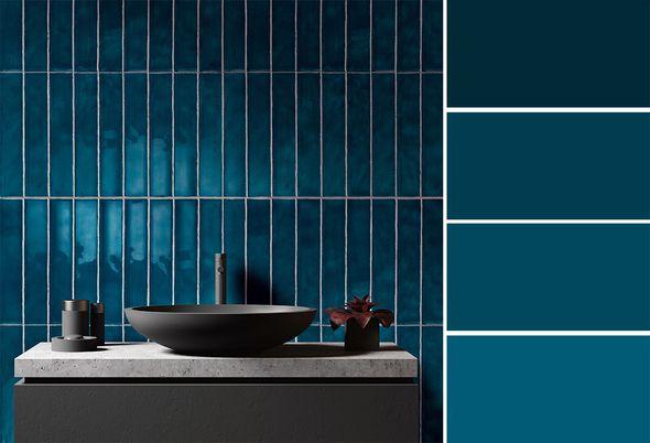 Trend: blauw in de badkamer - 1. warme kleuren 2. grote tegels