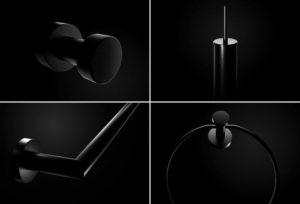 Badkamer accessoires zwart - Zwarte spiegel