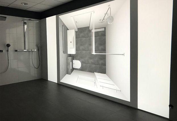 Witte tegels badkamer badkamer ontwerp met zeshoekige