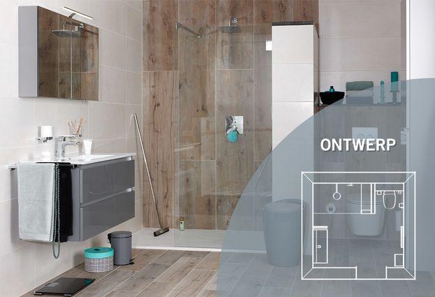 Badkamer met natuurlijke houtlook hamer badkamers