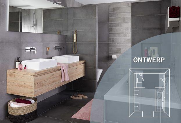 Ruime betonlook badkamer voor het hele gezin bliek sanitair