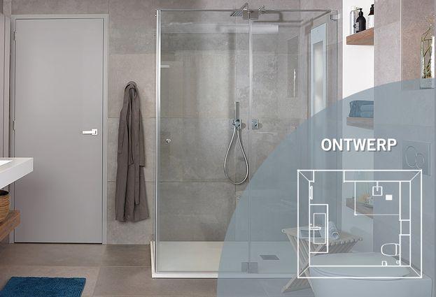 Maatwerk badkamer met teakhout en betonlook baden