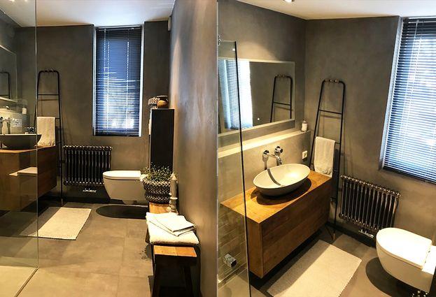 Betonlook Badkamer Maken : Betonlook badkamer in nunspeet de wilde tegels sanitair