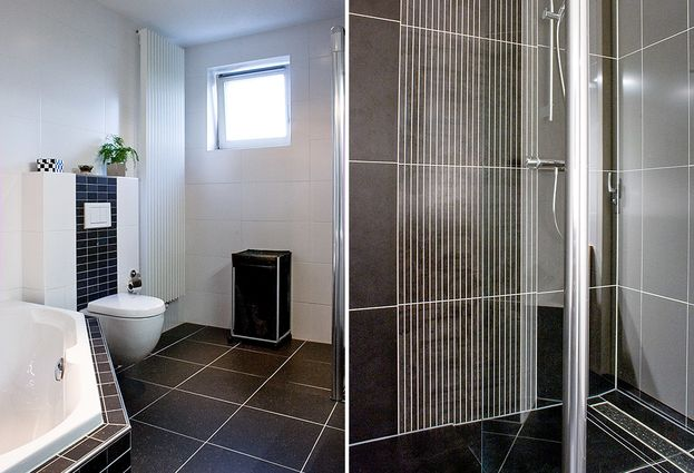 Badkamer Antraciet Wit : Zwart wit badkamer in kaatsheuvel hoefnagel tegels keukens en
