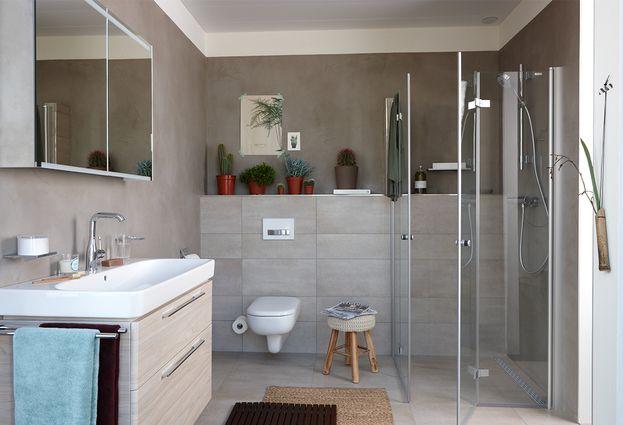 5 badkamer voorbeelden: moderne badkamer - Betonstuc badkamer