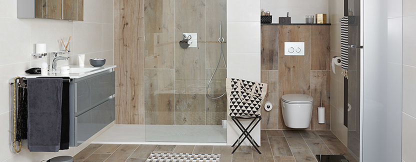 Badkamertegels - houtlook tegels