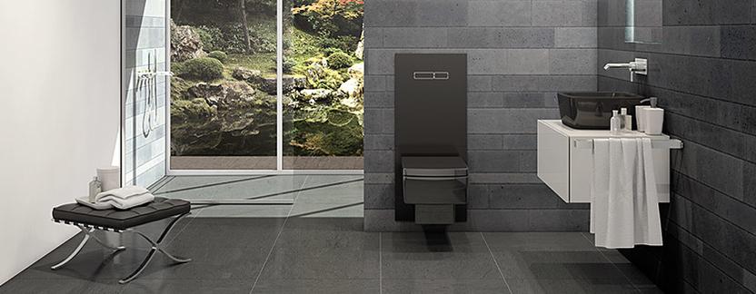 Luxe badkamer met uniek zwart toilet