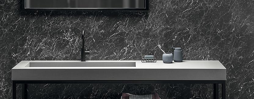 Luxe badkamer - minimalistisch design wastafel betonlook