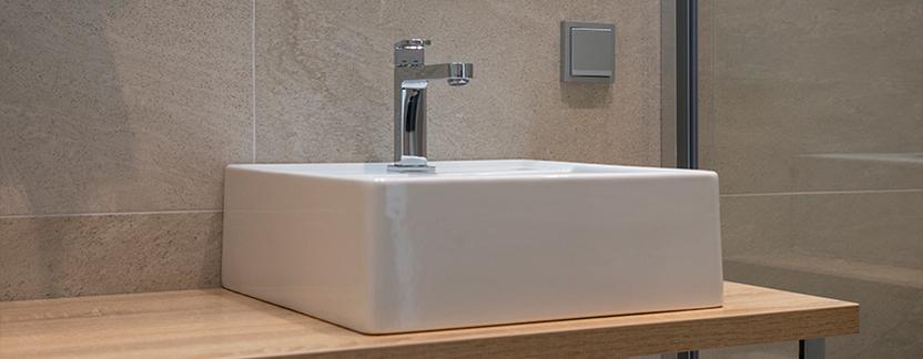 Sanitair- en Tegelhuis Steenbergen showroom wastafel opzetkom detail