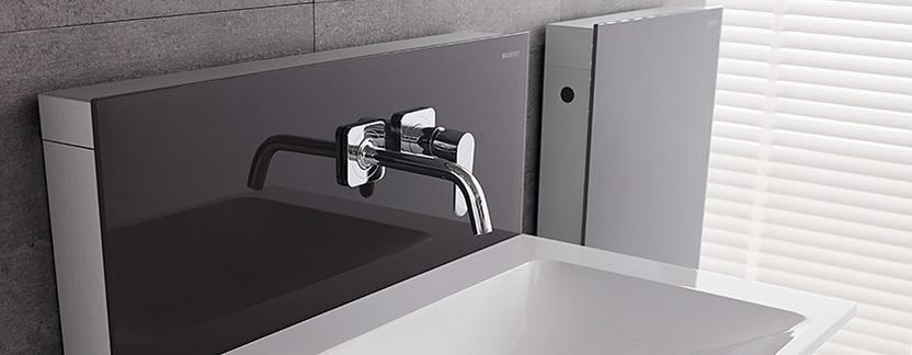 Geberit Monolith toilet en wastafel reservoir zwart detail