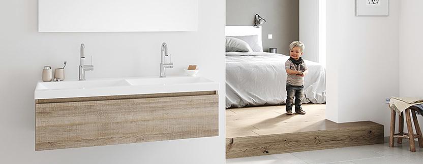 Primabad - Exclusive XL - wastafelmeubel hout en keramiek - wit spiegelpaneel