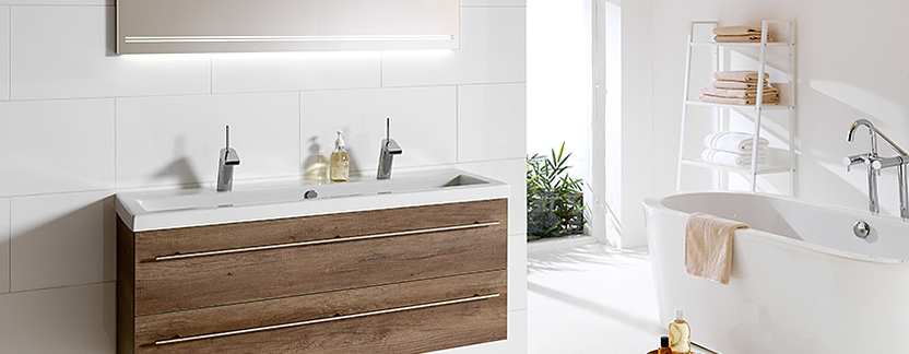 Primabad - Get Up - badkamermeubel hout met dubbele wasbak - led-spiegelpaneel