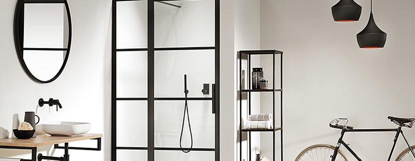 Sealskin - Soho - brede douche in nis - douchedeur met zwarte profielen