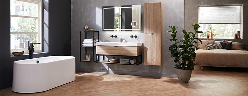 Mix & Match badkamermeubel Larino hout dubbele wasbak kolomkast led spiegelpaneel