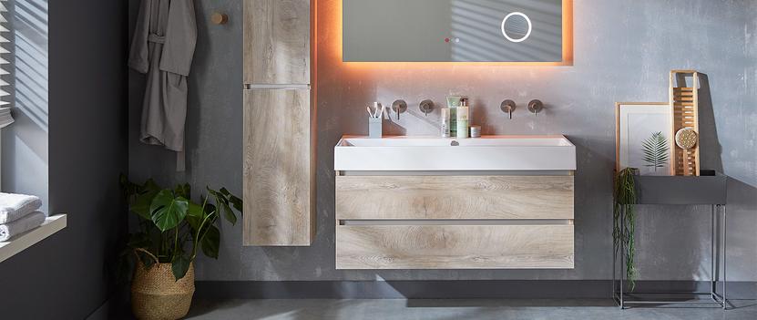 Complete badkamermeubels met wasmeubel en kolomkast