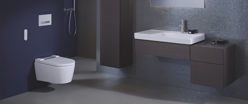 Geberit AquaClean Sela douchewc toilet wit in combinatie met Monolith reservoir